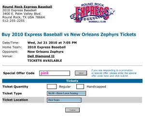 2010 Express Baseball vs New Orleans Zephyrs Tickets